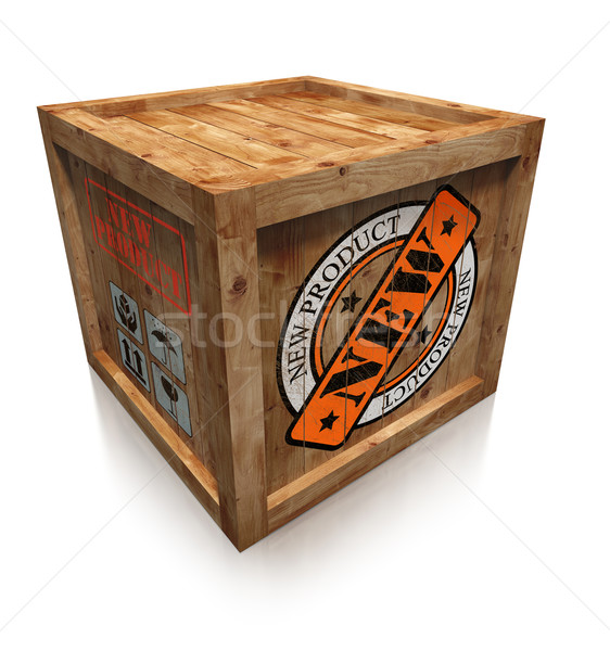 new product stamp sign on wooden box Stock photo © donskarpo