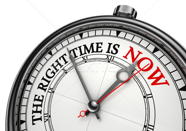 now the right time concept clock Stock photo © donskarpo