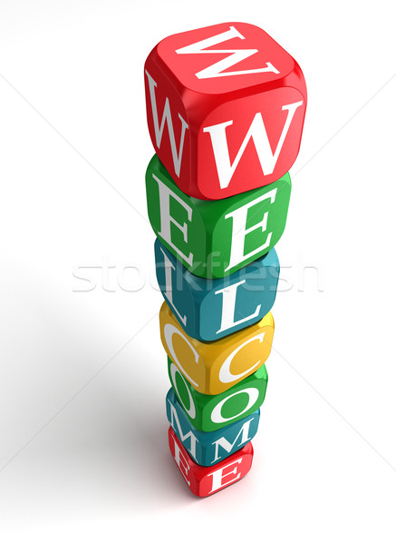 welcome sign 3d colorful box tower Stock photo © donskarpo
