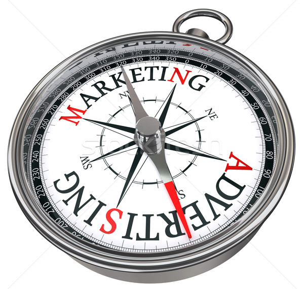 marketing versus advertising concept compass Stock photo © donskarpo