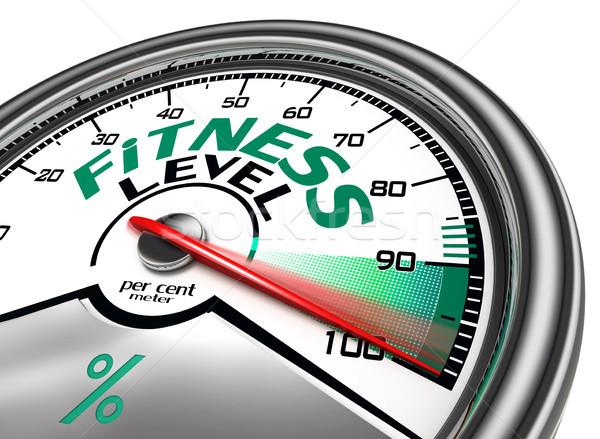 фитнес уровень сто цент изолированный Сток-фото © donskarpo