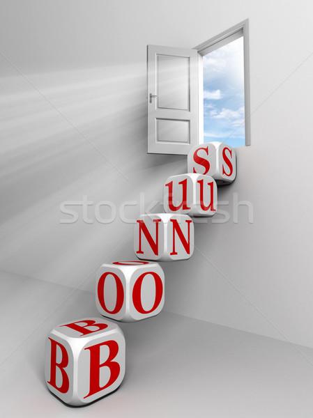 Bonus porta cielo finestra rosso parola Foto d'archivio © donskarpo