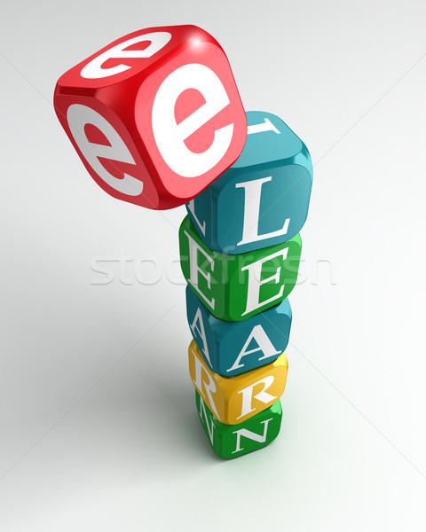 e learn sign 3d colorful buzzword Stock photo © donskarpo