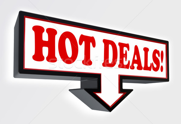 Stock photo: hot deals red and black arrow sign