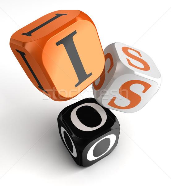 Iso orange black dice blocks  Stock photo © donskarpo