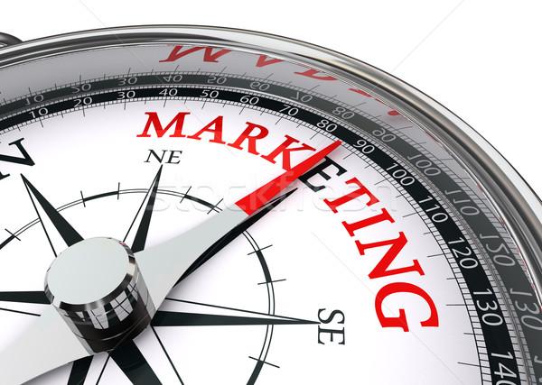 Marketing palavra bússola isolado branco dinheiro Foto stock © donskarpo