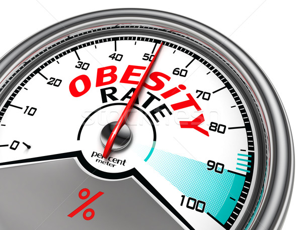 Stock photo: obesity rate conceptual meter