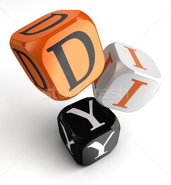 Csináld magad narancs fekete kocka kockák csináld magad Stock fotó © donskarpo