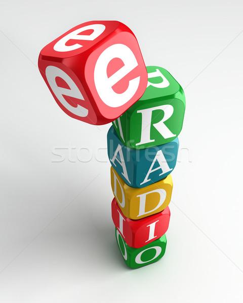 e radio sign 3d colorful box tower Stock photo © donskarpo