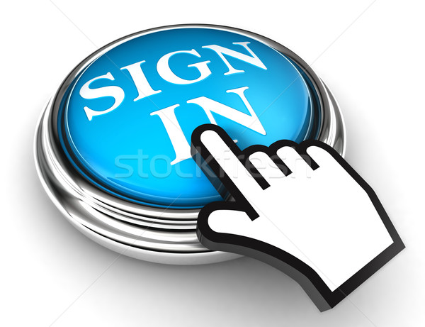 sign in blue button and hand  Stock photo © donskarpo