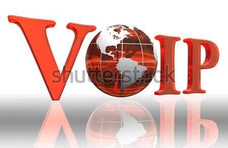 world red word and globe Stock photo © donskarpo