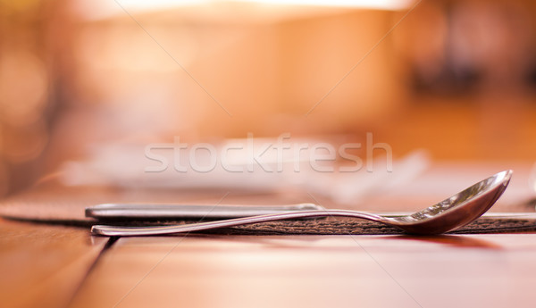 Elegant restaurant setting of fine dining cutlery Stock photo © Donvanstaden