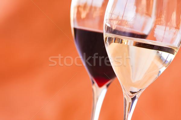 Stock fotó: Szemüveg · bor · közelkép · kettő · piros · fehér