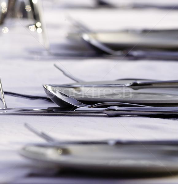 Elegáns étterem asztal szemüveg evőeszköz ital Stock fotó © Donvanstaden