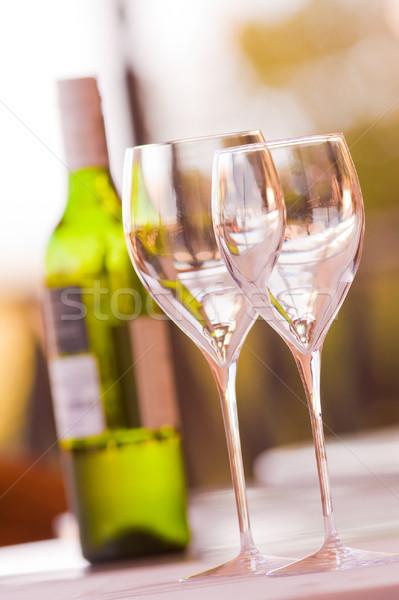 Borospoharak kettő borosüveg bor étterem ital Stock fotó © Donvanstaden