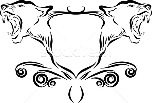 Stock fotó: Oroszlán · fej · embléma · vektor · vonal · művészet