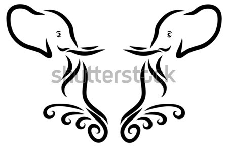Elefánt fej embléma vektor vonal művészet Stock fotó © Donvanstaden