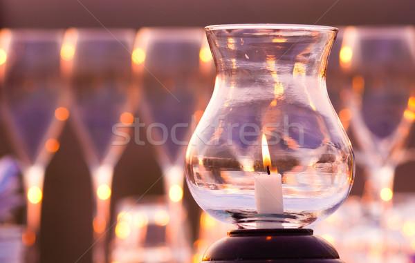 Romantique bougie vin coeur lumière verre Photo stock © Donvanstaden