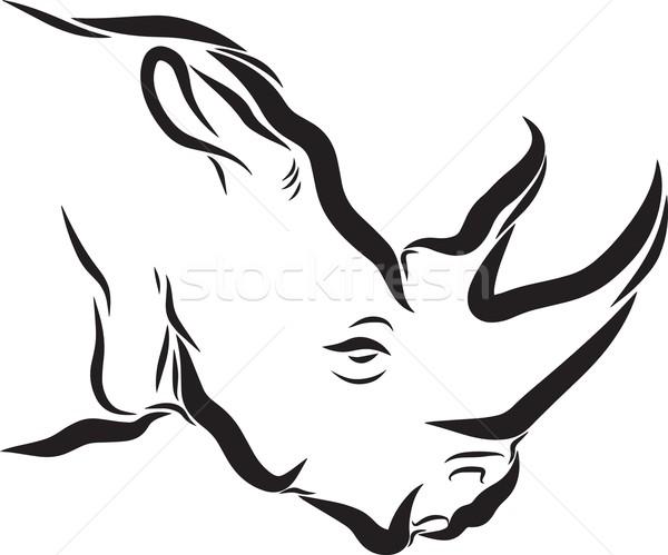Rhinoceros Line Art Stock photo © Donvanstaden