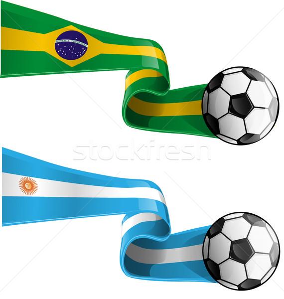 Argentina Brasil bandera balón de fútbol mundo fútbol Foto stock © doomko