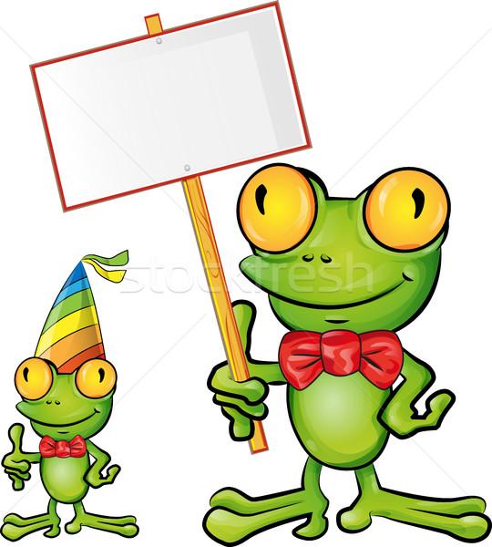 frog cartoon with signboard Stock photo © doomko