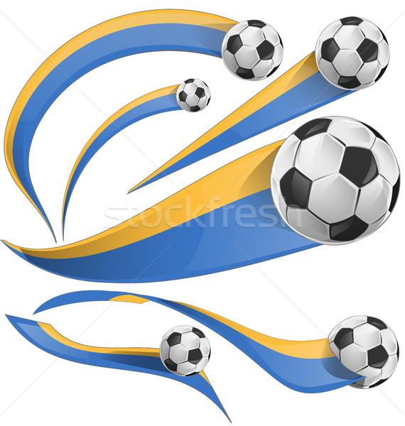 Украина флаг набор футбольным мячом изолированный белый Сток-фото © doomko