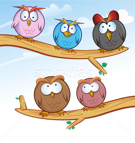 面白い フクロウ グループ 漫画 ツリー 背景 ストックフォト © doomko