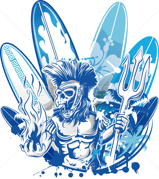poseidon death surfer on surfboard background Stock photo © doomko