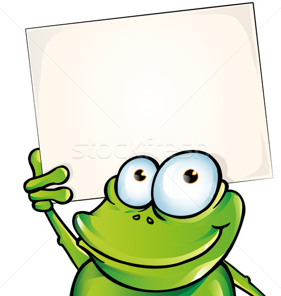 funny frog with signboard Stock photo © doomko