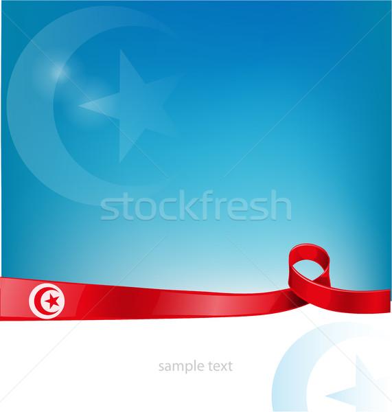 Tunus bayrak şerit soyut dizayn sanat Stok fotoğraf © doomko