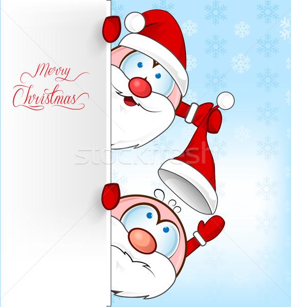 面白い サンタクロース 漫画 男 背景 冬 ストックフォト © doomko