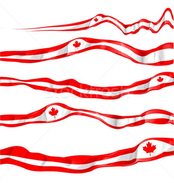 Canadá bandeira conjunto isolado branco abstrato Foto stock © doomko