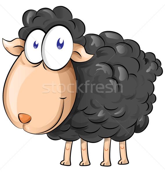 черный овец Cartoon белый весны Сток-фото © doomko