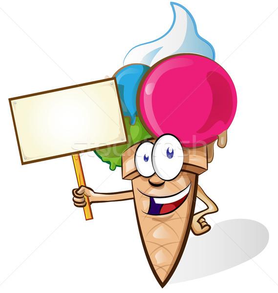 Ice cream cartoon with signboard isolated on white background Stock photo © doomko
