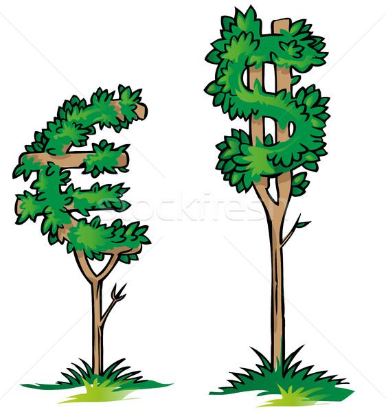 Dólar euro árvore isolado negócio fundo Foto stock © doomko