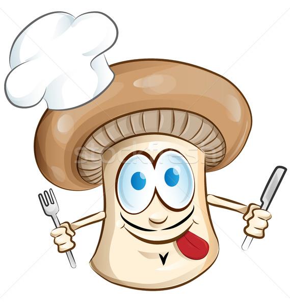 Mantar şef karikatür yalıtılmış beyaz gıda Stok fotoğraf © doomko