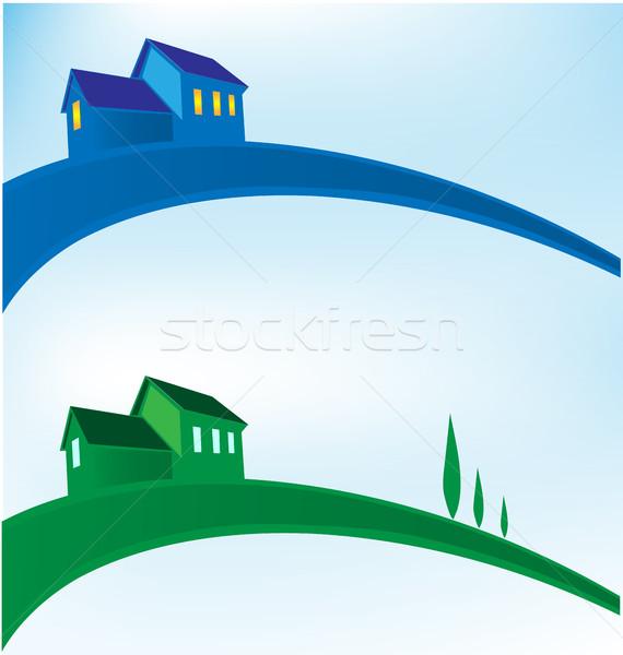 Manzara ev iş inşaat imzalamak mavi Stok fotoğraf © doomko