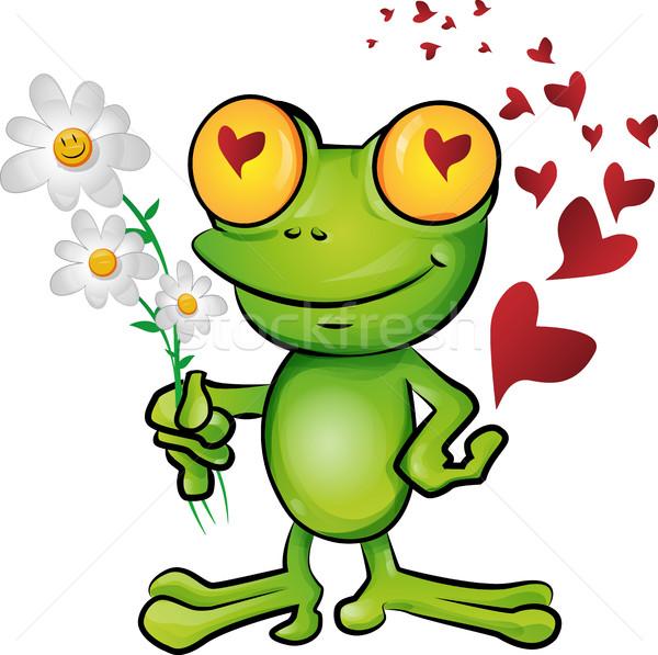 лягушка Cartoon любви счастливым фон поцелуй Сток-фото © doomko