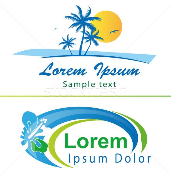 Férias símbolos dois ícones praia água Foto stock © doomko
