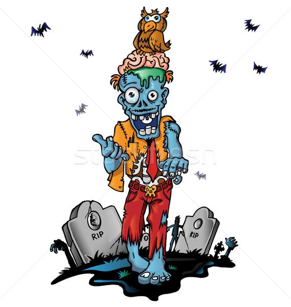 Crazy zombie cartoon śmierci mózgu horror Zdjęcia stock © doomko