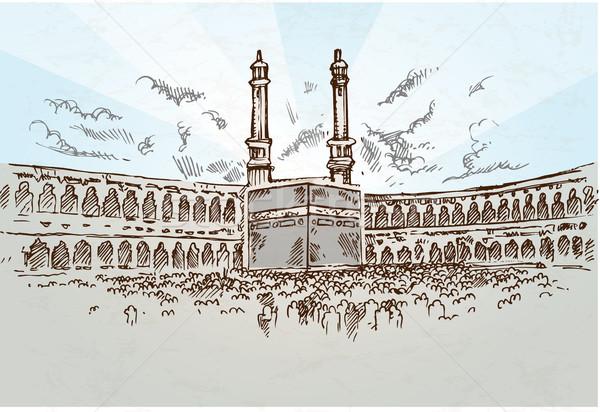 Mecca rajz kézzel rajzolt utazás felhőkarcoló horizont Stock fotó © doomko