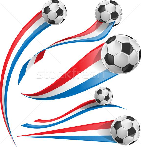 Fransa Hollanda bayrak ayarlamak futbol topu futbol Stok fotoğraf © doomko