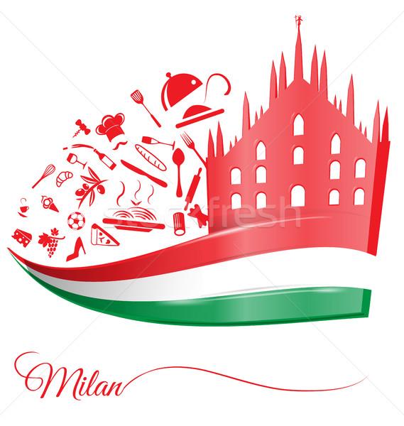 Milan catedral comida elemento bandeira italiana edifício Foto stock © doomko