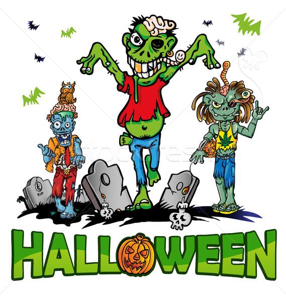 Halloween zombie man kunst dood schedel Stockfoto © doomko