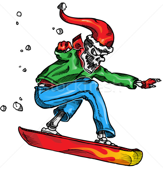 skeleton snow boarder isolated  wihite  background Stock photo © doomko