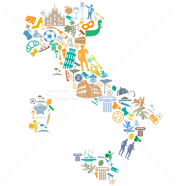 Сток-фото: итальянский · карта · силуэта · символ · набор · продовольствие