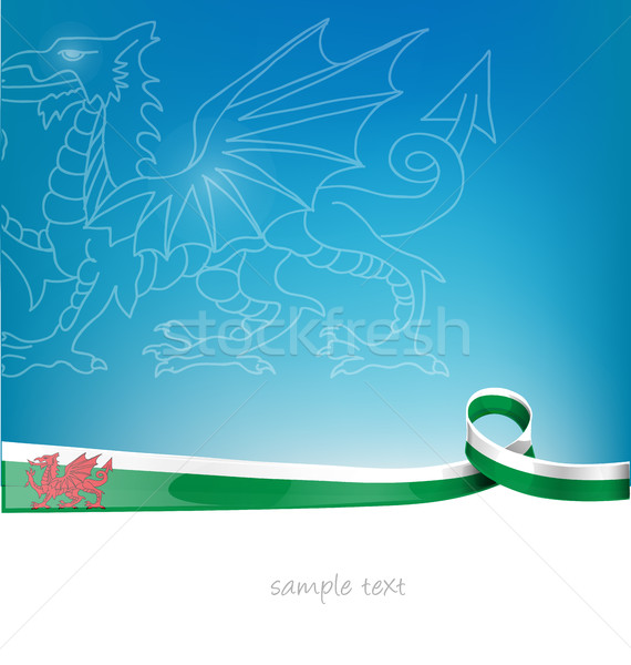 wales ribbon flag on blue sky background Stock photo © doomko