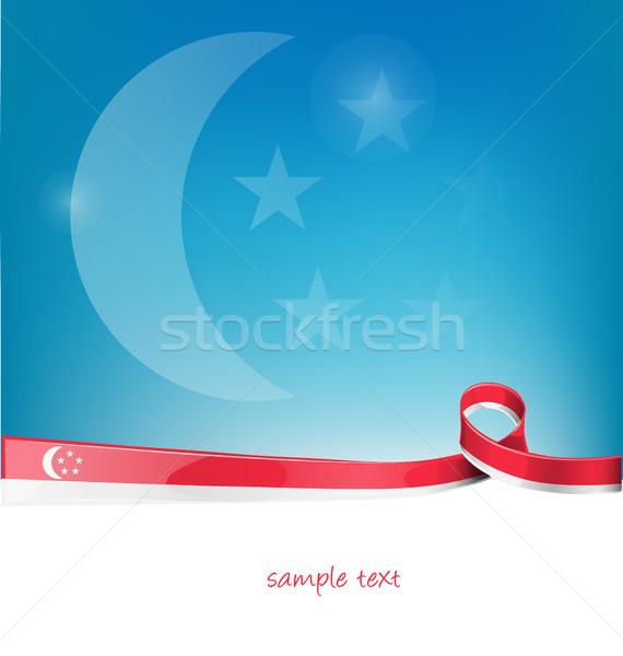 Cingapura fita bandeira blue sky projeto arte Foto stock © doomko