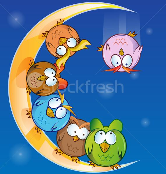 совы группа Cartoon луна дерево ребенка Сток-фото © doomko