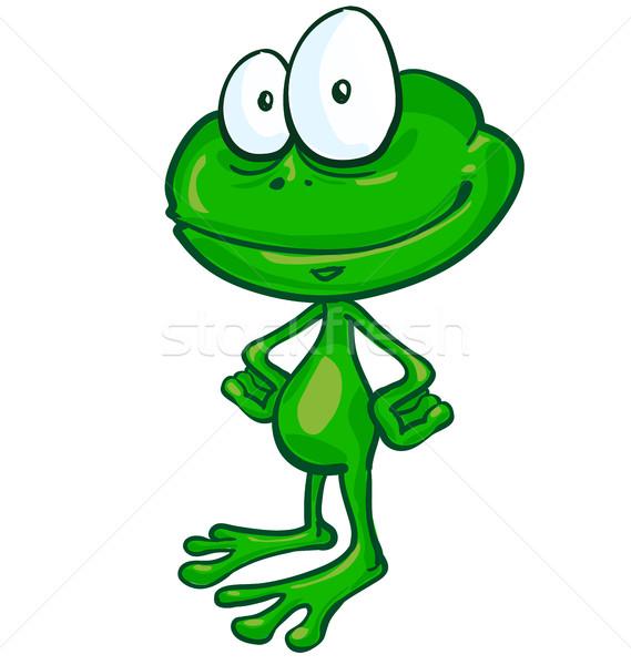Eğlence kurbağa karikatür beyaz gülümseme dizayn Stok fotoğraf © doomko